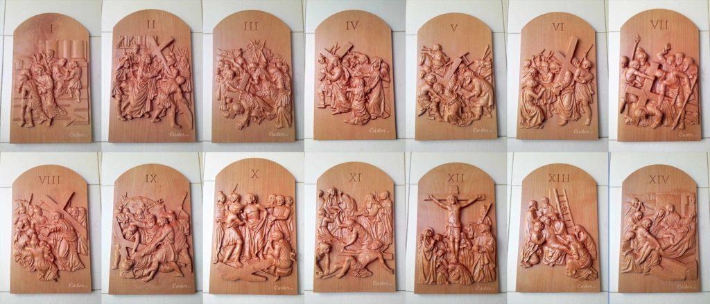 Tallado en madera de las 14 estaciones del vía crucis