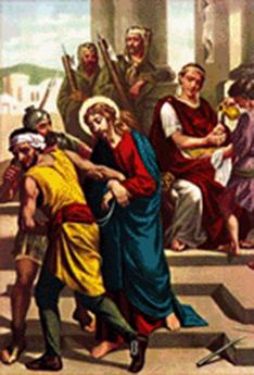 Dibujo ilustrativo de la primera estación del via crucis