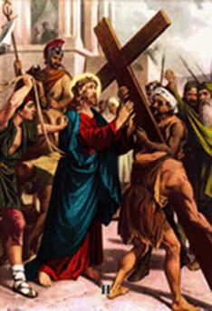 Dibujo ilustrativo de la segunda estación del via crucis