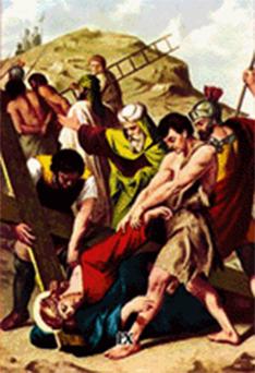 Imagen ilustrativa de la novena estación del vía crucis