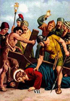imagen ilustrativa de la séptima estación del vía crucis
