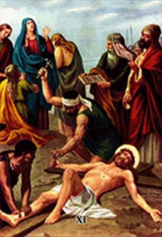 Imagen ilustrativa de la undécima estación del vía crucis