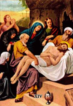 Imagen ilustrativa de la decimocuarta estación del vía crucis